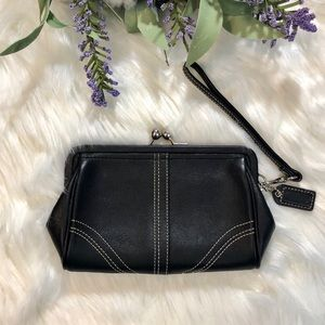 Coach Black Leather Soho Framed Kisslock Clutch